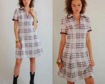 Preppy Mod Dress Vintage 60s Plaid Double Knit Pleated Drop Waist Mod Dress (s m)