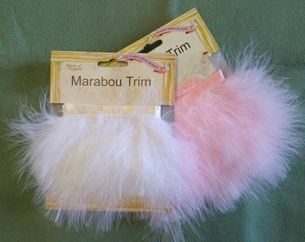 TR042 ~ Marabou trim Pink feathers White feathers Satin ribbon