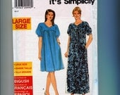 Plus Size Dress Sewing Pattern Simplicity 7951 Mumu Casual Loose Comfy Womens Large 18W - 26W