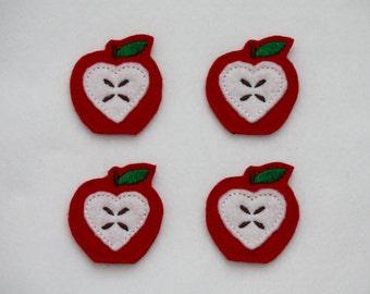 Apple with Heart Core Felt Applique - Set of 4