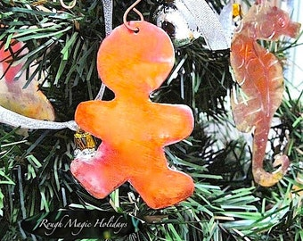 Gingerbread Man, Copper Christmas Ornament, Xmas Tree Decoration, Cookie Cutter Holiday Decor, Door Hanger for Boy, Keepsake Ornament