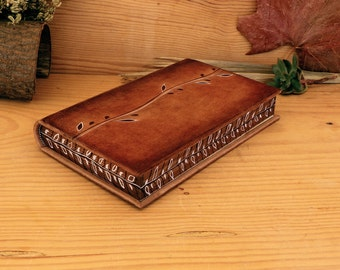 Natural Leather Journal with Painted Edges, Artist Paper. One of a kind.