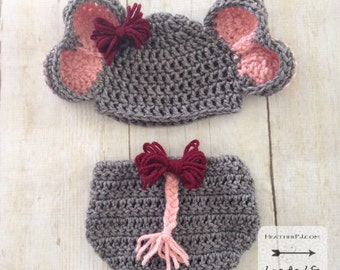 PATTERN Elephant Hat and Diaper Cover with Tail for Newborn. Instant Download Crochet Pattern