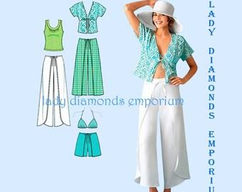 Simplicity 4192 Womens Wrap Pants Shorts Kimono Top Bra Top Tank Top size 6 8 10 12 14 OR 14 16 18 20 22 Plus Size Sewing Pattern Uncut FF