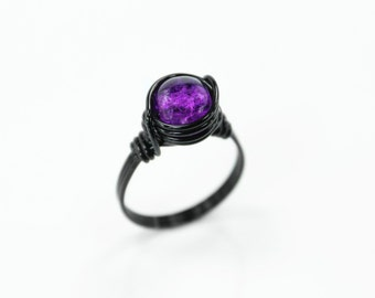 Wire Wrapped Ring - Purple Ring - Black Ring - Statement Ring - Beaded Ring - Wire Wrapped Jewelry - Crackle Glass Ring - Everyday Ring