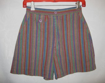 Multicolor Stripe High Waist Shorts Size Small Vintage 80s