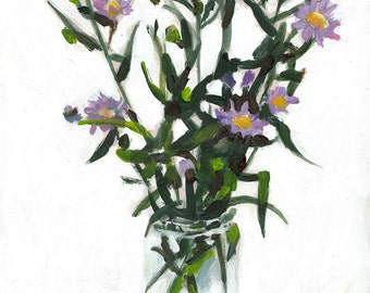 Little purple flowers in a jar - Still life of  flowers - original acrylic painting on mdf wall art- wall decor- home decor