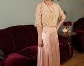 Vintage Edwardian Blouse - Lovely Edwardian Silk Chiffon Blouse with Handmade Lace and Pintucks