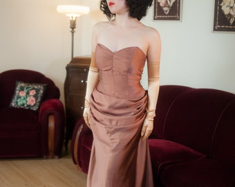 Vintage 1950s Gown - Exquisite Designer Quality Raspberry Mocha Hued 50s Strapless Dress with Incredible Drape and Structure