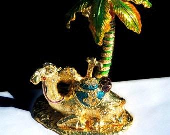 Vintage Egyptian Revival Elegant Home Decor Rhinestone Trinket Treasure Bauble Box Hand Painted Enamel Camel In Desert Oasis Under Palm Tree
