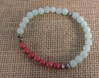 Coral and ocean blue jade gemstone bracelet