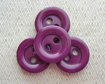 Eggplant Purple Buttons 28mm - 1 1/8 inch Magenta Purple Vintage Knitters Dream Buttons - 4 VTG NOS Glossy Purple Sewing Buttons PL279 bb