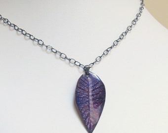 Enameled Purple Leaf Pendant, Copper Enamel OOAK Necklace, Ready to Ship Gift, WillOaks