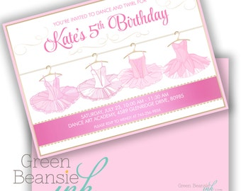TUTU BALLERINA  Printable Birthday Party Invitation - Printing Available