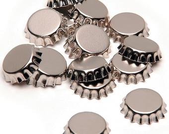 15 Pieces 12mm Silver Mini Bottle Caps Craft Supplies Bail Bezel Setting