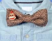 Geeky clip-on bow tie: sock monkey knit print with 3D accent (for adults or kids)