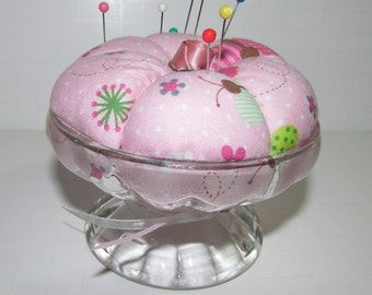 RESERVED for Sue - Ice cream cup Pin Cushion,  pink with cherry accent, pin keep, pincushion