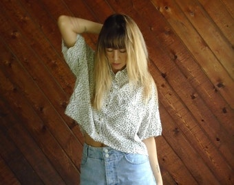 Cropped Cheetah Print 80s Vintage Button Front and Back Short Sleeve Blouse Shirt - M L