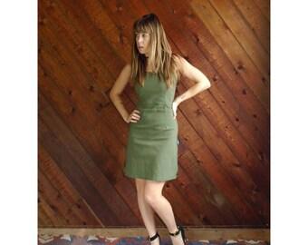 Green Woven French Mini Bodycon Dress - Vintage 90s - S