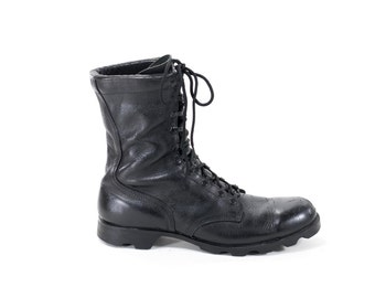 Vintage Military Boots Black Leather Army Steel Toe Combat Boots Mens Size 11.5