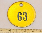 "1.5"" Brass Number Tag Antique Victorian Numbered Motel Room Key Fob Tag Diy Collage Jewelry Repurpose 63"