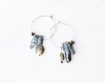 Hoop Sterling Silver Earrings / Kyanite Earrings / Gold Plated Earrings