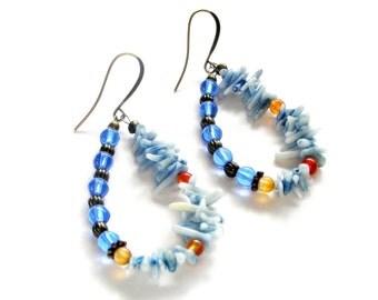Blue Coral Beaded Earrings, Large Hoop Earrings, Spring Break