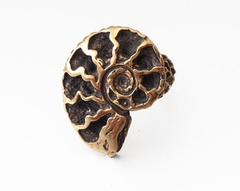 Bronze Nautilus Ring, Solid Bronze, hand carved from wax and made in my studio, ammonite ancestor of the chambered nautilus