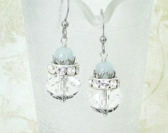 Etheral Aqua - Aquamarine Earrings, March Birthstone Jewelry, Aquamarine Jewelry, Bridal Earrings, Victorian Earrings, Vintage Style
