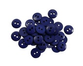 Set of 38 Smooth Round Plastic 2-Holed Buttons - The Simplest Midnight Blue (11mm)