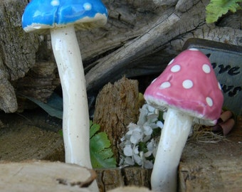 2 Ceramic  mushrooms  hand crafted ceramic toadstools fairy Garden yard art   Home Grown  Shrooms Mix-    stakes
