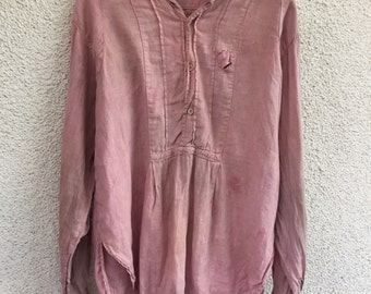 Vintage 40s french linen tunic dress