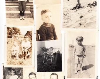 10 Vintage Photo Lot Little Boy Child School Picture Shirtless Cat plus