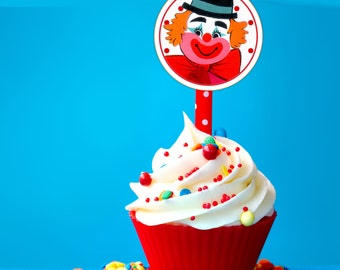 Clown Birthday Party Circles, Cupcake Toppers, Retro Vintage Tags, Scrapbooking,