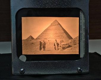 PYRAMIDS EGYPT - Vintage magic lantern glass slide light box