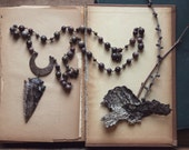 Lost Arrow Creek. Rustic Tribal Bohemian Agate Arrowhead, Crescent Moon and Beaded Stone Necklace.