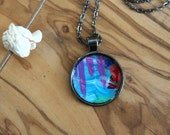 Abstract Art Necklace, Colorful Original Acrylic Painting - Pendant Necklace, One of a kind, Gifts for her, circle pendant, handmade