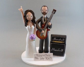 Unique Cake Toppers - Bride & Groom Personalized Music Theme Wedding Cake Topper