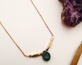 Tiny Minimalist Turquoise Tear Drop Pendant Necklace || Stone Pendant || Raw Turquoise Rose Gold Necklace || Simple Birthstone Jewelry