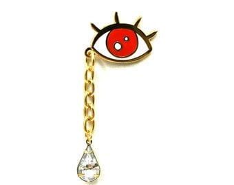 SAD & EVIL- DELUXE Version with vtg Glass teardrop Lapel Pin
