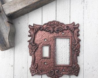 Light Switch Cover, Lighting, Light Switch Cover Plate, Distressed Copper, Ornate Decor, French Decor, Romantic Decor