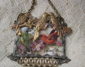 Even More Birdies - Soldered Glass Assemblage Necklace - REDuCED