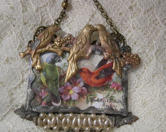 Even More Birdies - Soldered Glass Assemblage Necklace
