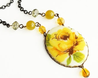 Yellow Rose Necklace Large Vintage Flower Cameo Pendant Victorian Rose Statement Necklace Yellow Wedding Bridal Jewelry