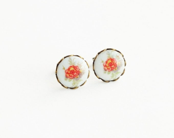 Floral Cameo Stud Earrings Small Rose Cameo Post Earrings Flower Studs Rose Jewelry Vintage Glass Flower Cameo Jewelry