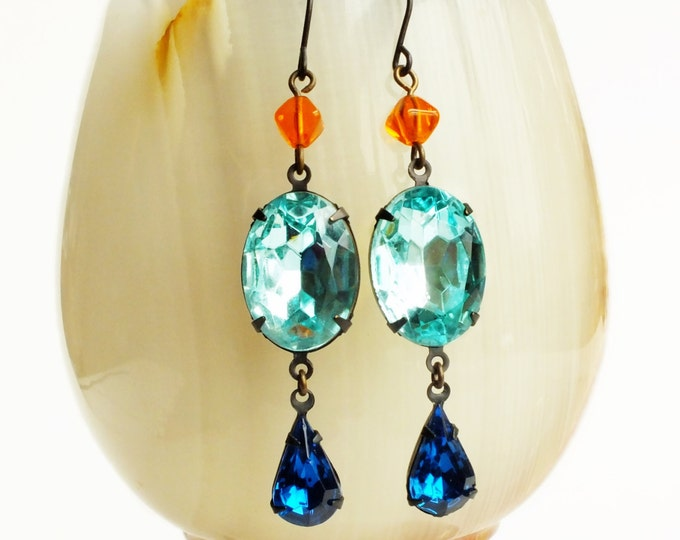 Aqua Rhinestone Earrings Vintage Turquoise Blue Glass Crystal Aqua Orange Earrings Aquamarine Jewelry
