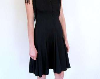 Black Fringed 70's Dress
