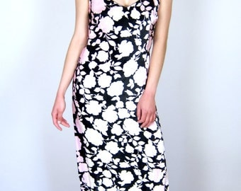 Pink and Black Velvet Versace Gown