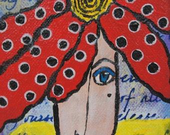 Dotty a tiny original acrylic painting by Joan Princing Art