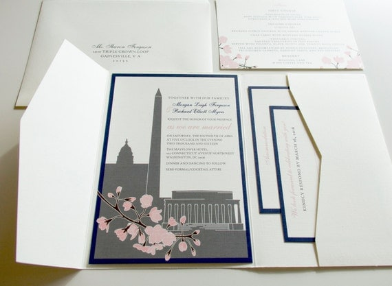 Cherry Blossom Invitation Washington DC Invitations, Pocketfold Wedding Invitation, Daffodils, Tulips, Flowers, Grey, Wine, Yellow, Pink